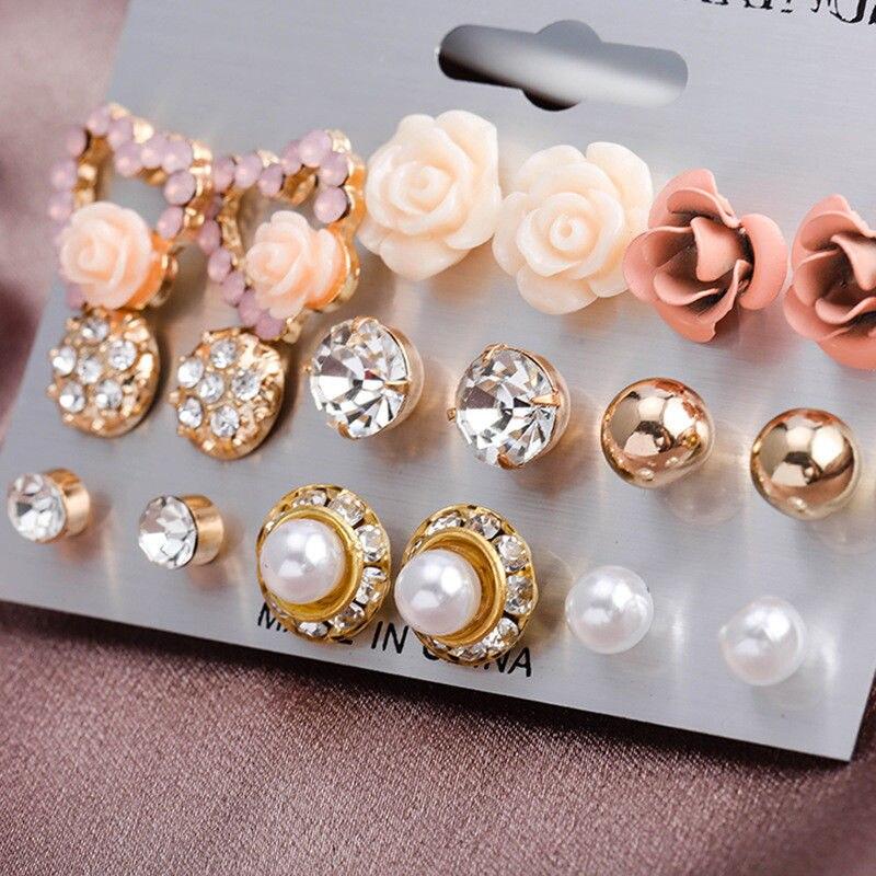 12/ 9 Pairs/Set Women's Pearl Flower Crystal Studs Earrings Girls Elegant Rose Flower Heart Ear Jewelry Gift(China)