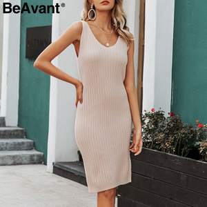 Image 4 - BeAvant Elegant 2 pieces women knitted dress Autumn winter ladies pullover work wear sweater suit Solid bodycon sweater dress