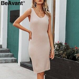 Image 4 - Женское трикотажное платье свитер BeAvant, однотонное облегающее платье пуловер для работы, комплект из 2 предметов, Осень зима