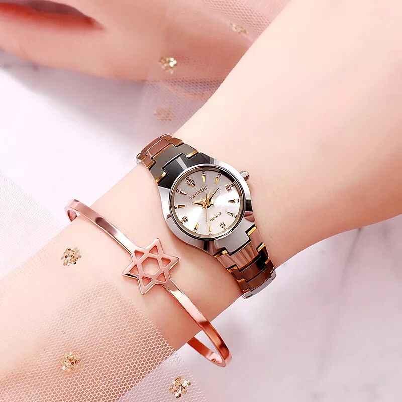 Reloj mujer Часы из вольфрамовой стали женские золотые Роскошные брендовые кварцевые наручные часы водонепроницаемые часы с бриллиантовым кристаллом женские часы