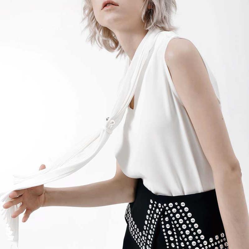 GALCAUR coréen à lacets perle femme Blouse col en V sans manches lâche Blouses noires femmes 2019 été dames OL Style mode