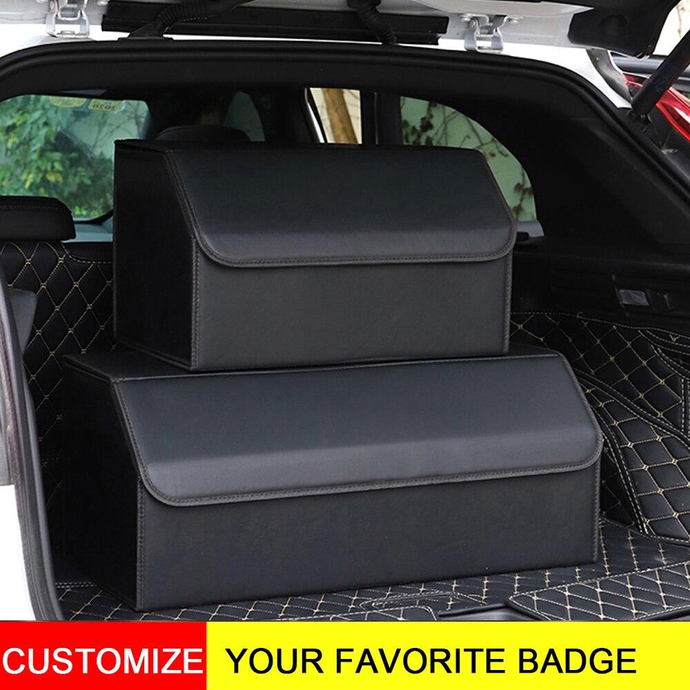 Универсальный 3D автомобильный логотип кожаный багажник Органайзер коробки сумка для хранения для Audi для Bmw складная сумка для багажника дл...