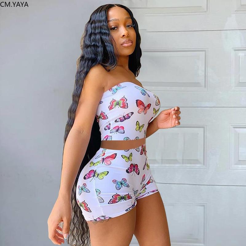 CM.YAYA Streetwear Schmetterling Druck Frauen Liebsten Crop Top Shorts Hosen Anzug Aktive Tragen Trainingsanzug Zwei Stück Set Fitness Outfit