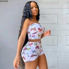 CM.YAYA Streetwear nadruk z motylem kobiety Top bez ramiączek spodenki spodnie garnitur odzież sportowa dres dwuczęściowy zestaw strój Fitness