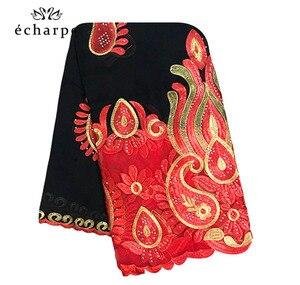 Image 4 - 2020 последняя африканская Женская шаль 100% хлопок мусульманский шарф Вышивка Сращивание с сеткой мусульманский шарф больших размеров для шали EC229