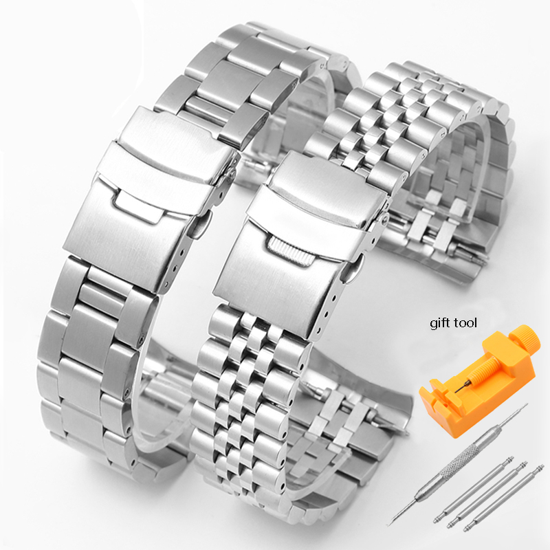 316 Stainless Steel Watchband Silver Wristband Men's Bracelet Replacement Metal Strap For SKX007 009 SKX175 173 Watch Chain