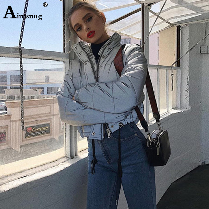 Aimsnug Women Fashion Winter Jackets Short Warm Coat Grey Color Reflective Short Jacket 2019 Girls Sexy Parka Coats Outerwear