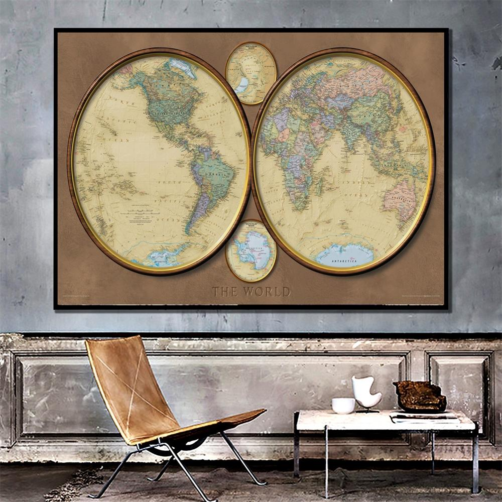 A2 Size Creative Decor Map The World HD Printed Map 2010 Edition Fine Canvas Wall Map For Living Room Decor