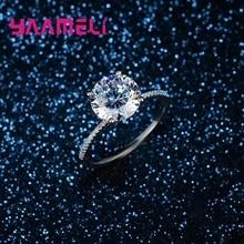 Women Ring CZ Square Diamond Engagement 925-Sterling-Silver Cubic-Zircon Wedding Original