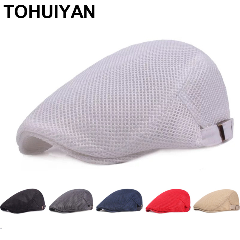 TOHUIYAN Breathable Mesh Newsboy Cap Men Boina Cabbie Cap Summer Streetwear Golf Hat Gorras Planas Flat Caps Women Duckbill Hats