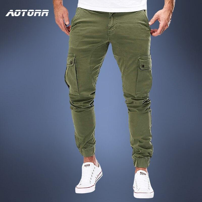 Мужские брюки-карго в стиле милитари, Осенние повседневные облегающие брюки, армейские длинные брюки, джоггеры, спортивные брюки 2020, спорти...