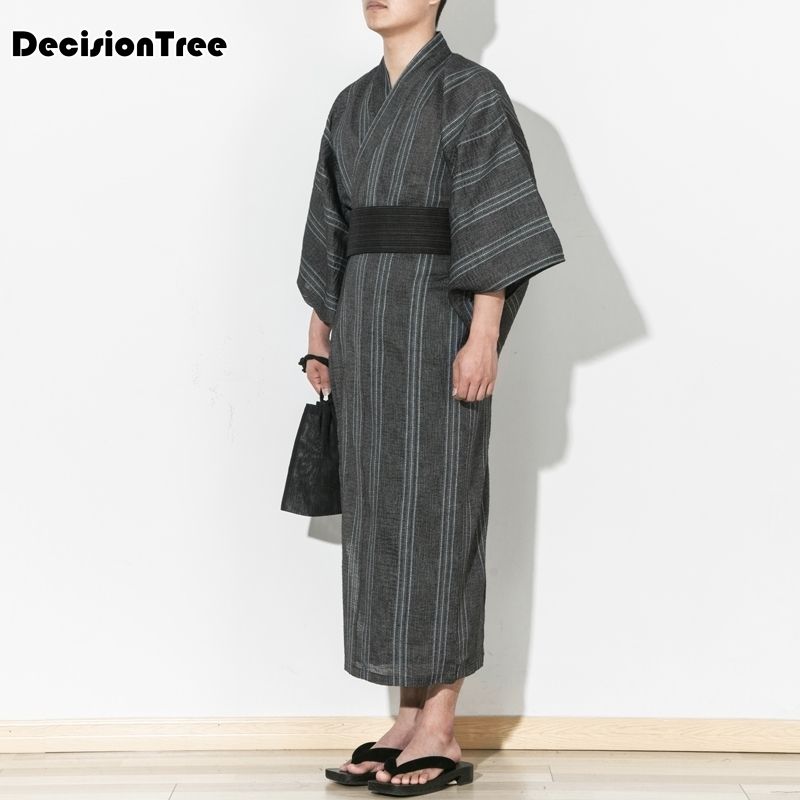 2019 Couples Cotton Yukata Pajama Sets Men & Women Japanese Kimono Robe Set Ancient Chinese Pijamas Costume Without Belt