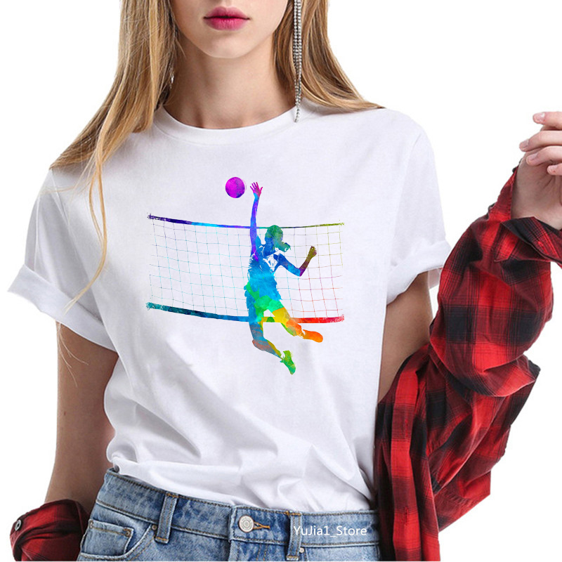 Hot sale watercolor volleyball girls printed tshirt women love sports tees summer 2020 top female white t-shirt funny t shirts