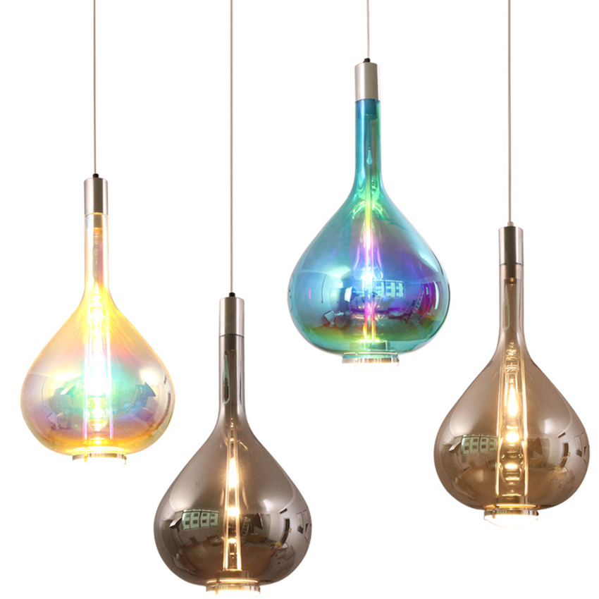 Moderne Designer Kunst Bunte LED Anhänger Lichter Beleuchtung Glas Lange Linie Anhänger Lampe Restaurant Innen Café Decor Leuchte - 6