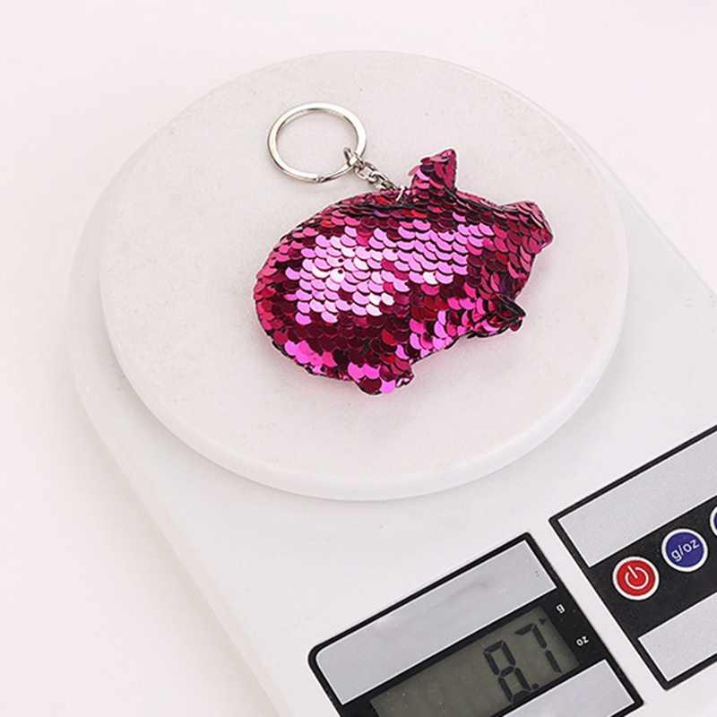 Bonito Chaveiro Porco Chaveiro Pompom Glitter Lantejoulas Saco de Presentes Chaveiro Para As Mulheres Carro Llaveros Mujer Acessórios Chave Anel