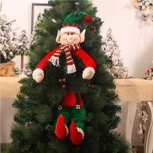 O novo natal haste telescópica sem rosto boneca janela é decorado com árvore bonecas elfos abraçar a árvore decoração suprimentos