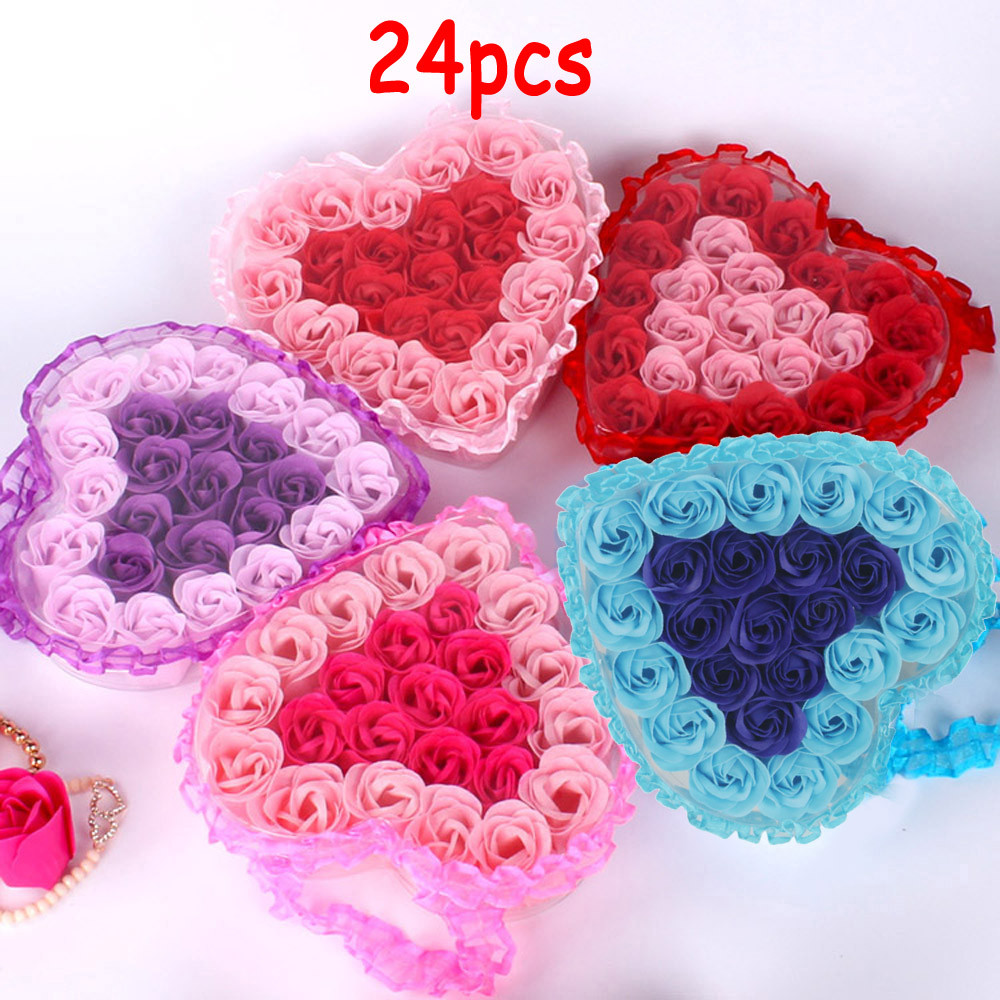 24Pcs Heart Scented Bath Body Petal Rose Flower Soap Wedding Decoration Gift Best X#4