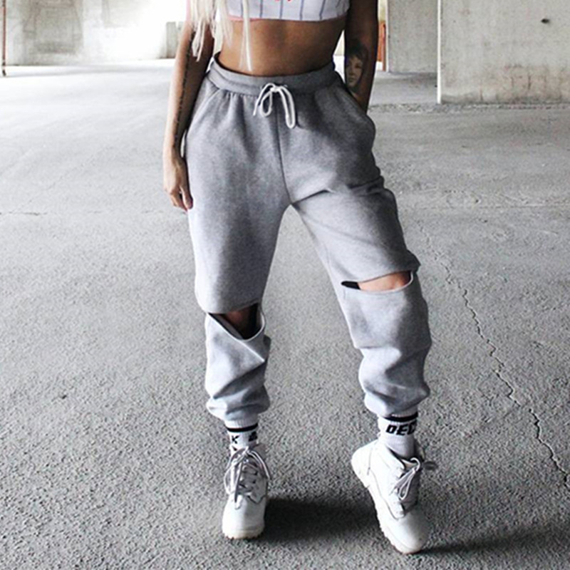 Harajuku Grey Casual Hip Hop Pants Women Jogger Harem Trousers Sweatpants Knees Open Ripped Sweat Pants Streetwear