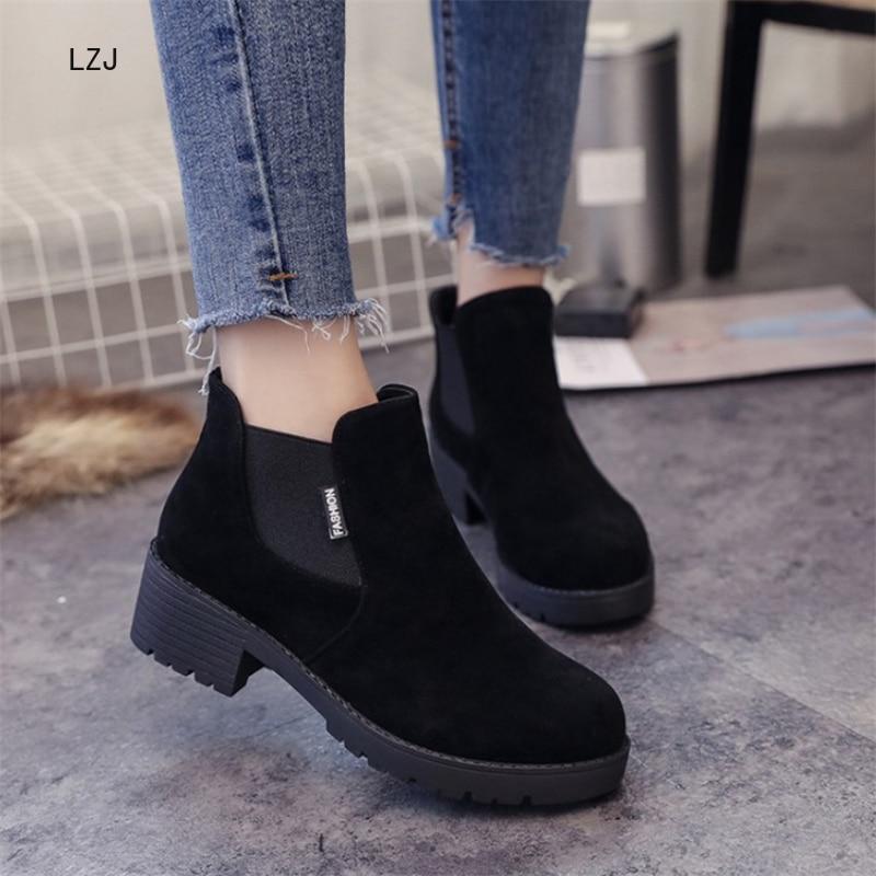 LZJ 2019 sonbahar kış kadın yarım çizmeler rahat sıcak kadınlar üzerinde kayma yüksek topuklu ayakkabı rahat moda ayakkabılar kadın botları