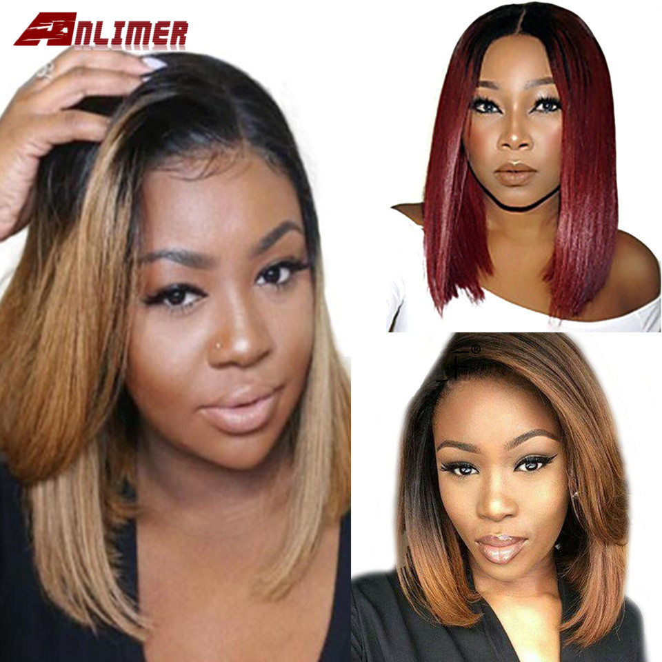 1B 30 Ombre Brown Lace Front Human Hair Wigs 100% Human Remy Hair Blonde Burgundy Lace Frontal Wig Short Bob Wig 13*4 Preplucked