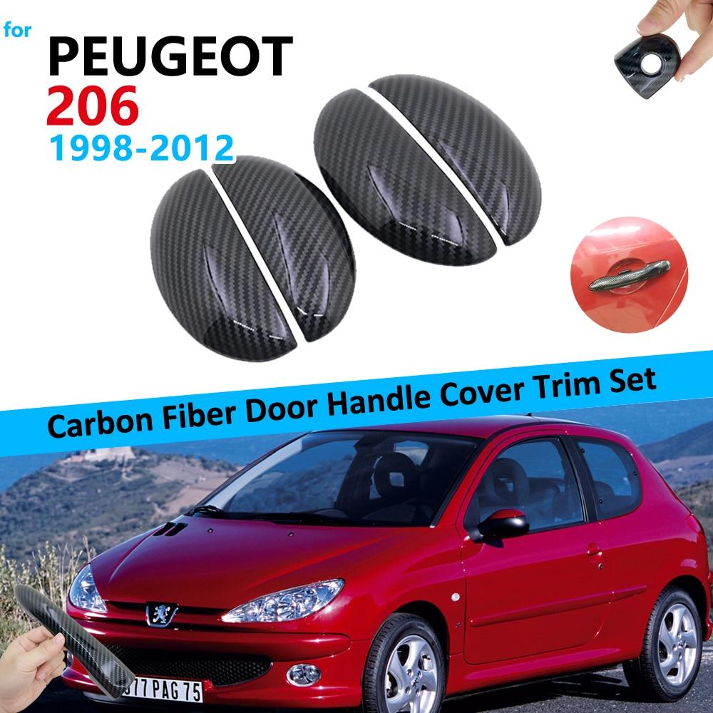 Carbon Fiber Door Handle Cover Trim Set For Peugeot 206 206+ 206sw 206cc 1998 1999 2010 2011 2012 Car Accessories Stickers