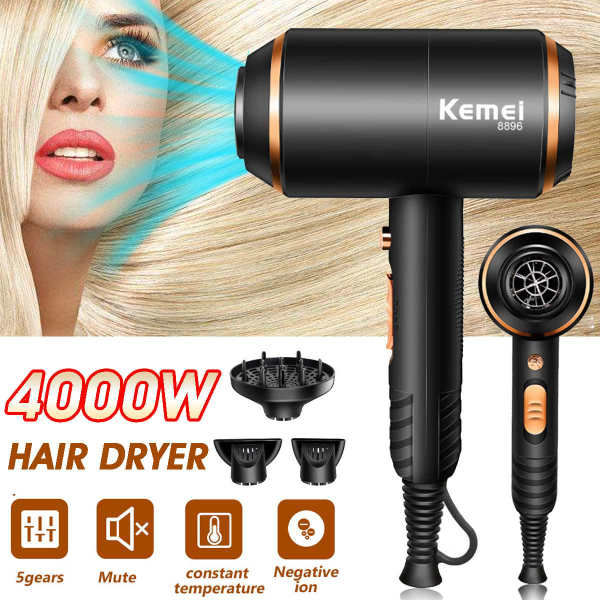 Becornce 110-220v 4000W Professional Hair Dryer Hot Cold Ionic Blow Dryer Fast Heating Household Hairdryer Hairdressing Salon
