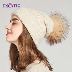Image 2 - ENJOYFUR Winter Hats For Women Natural Fur Pompom hat Warm Wool Slouchy Beanies For Female Fashion Skullies Lady Hats