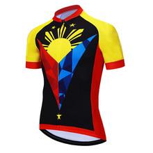Na świeżym powietrzu filipińskie lato z krótkim rękawem pranie oddychająca kurtka rowerowa moda mężczyźni rower odzież Jersey wyścig motocykl paski Top tanie tanio amboz CN (pochodzenie) POLIESTER Stretch Spandex SHORT Wiosna summer AUTUMN Koszulki Zamek na całej długości Cycling