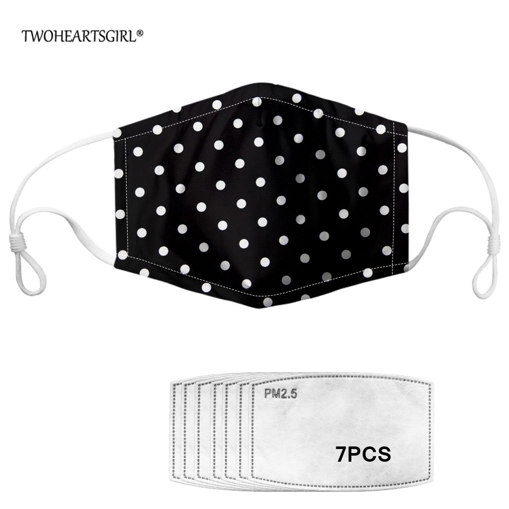 TWOHEARTSGIRL PM2.5 Women Men Mouth Face Mask Printing Polka Dot Anti Dust Washable Mouth Mask With 7pcs Activated Carbon Filter