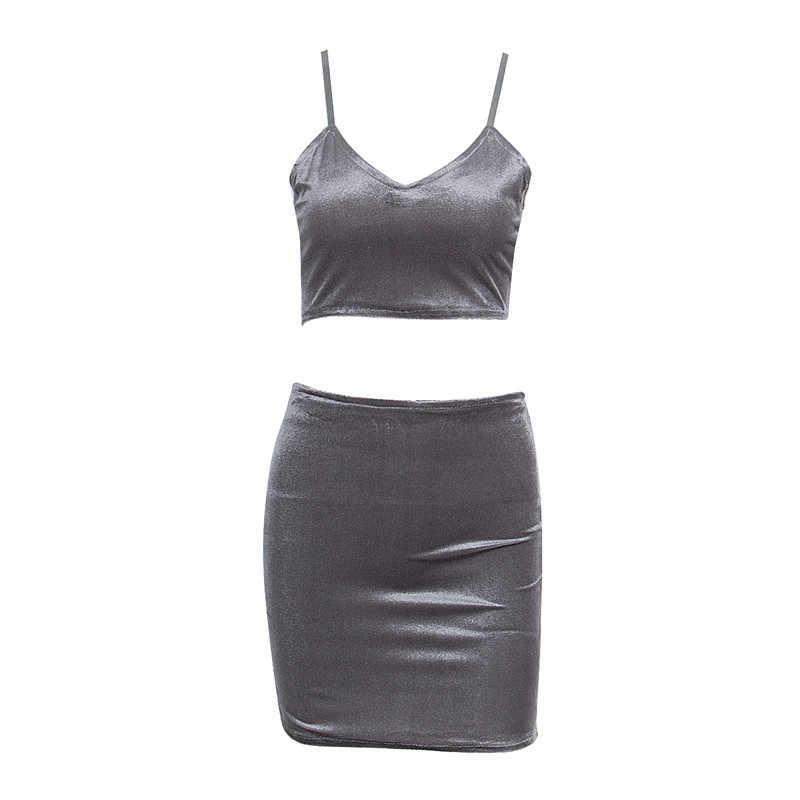 Damski Bodycon dwuczęściowy krótki top + Mini spódniczka z głębokim dekoltem w szpic sukienka klubowa