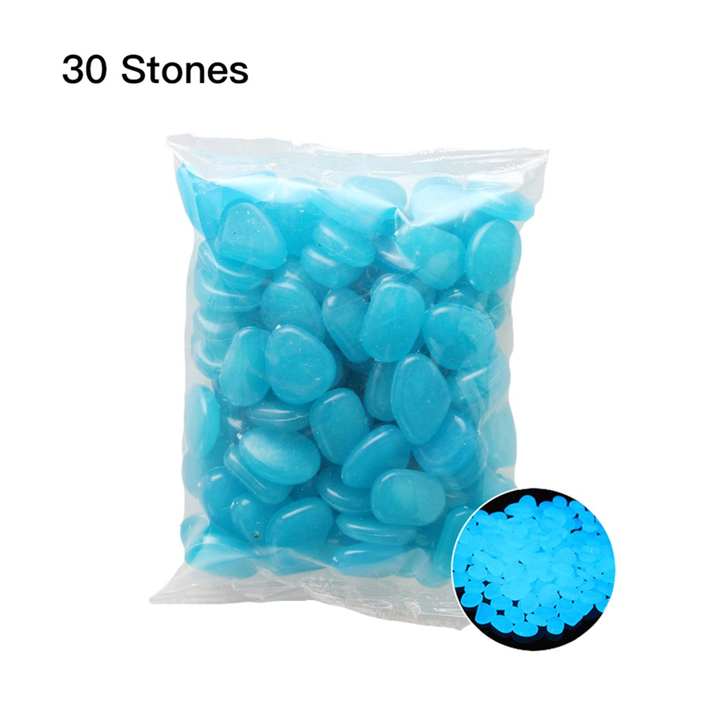 30 Pcs Glow in the Dark Garden Pebbles Glow Stones Rocks for Walkways Garden Path Patio Lawn Garden Yard Decor Luminous stones