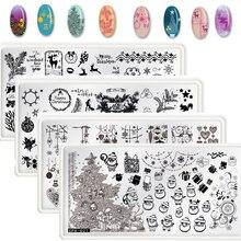 12.5X6.5CM Christmas Plate Nail Art Stamping Manicure Stencil Polish Gel Plates Image,JH1