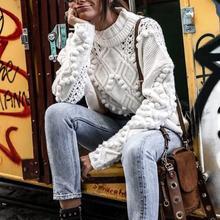 Водолазка чистые женские вязаные свитера-пуловеры длинный рукав свободный винтажный свитер Осень Белый джемпер Трикотаж женский