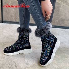 ANMAIRON Bling Flat with Ankle Boots Round Toe Med PU Winter Shoes Woman Polka Dot Short Plush Zip Sequined Cloth Women