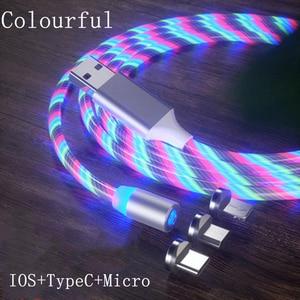 Cable magnético de luz LED Micro USB, Cable de carga para Samsung, Huawei, Xiaomi, iPhone