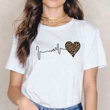 Tshirts Women Leopard Heartbeat Print Shirt Clothes Short Sl