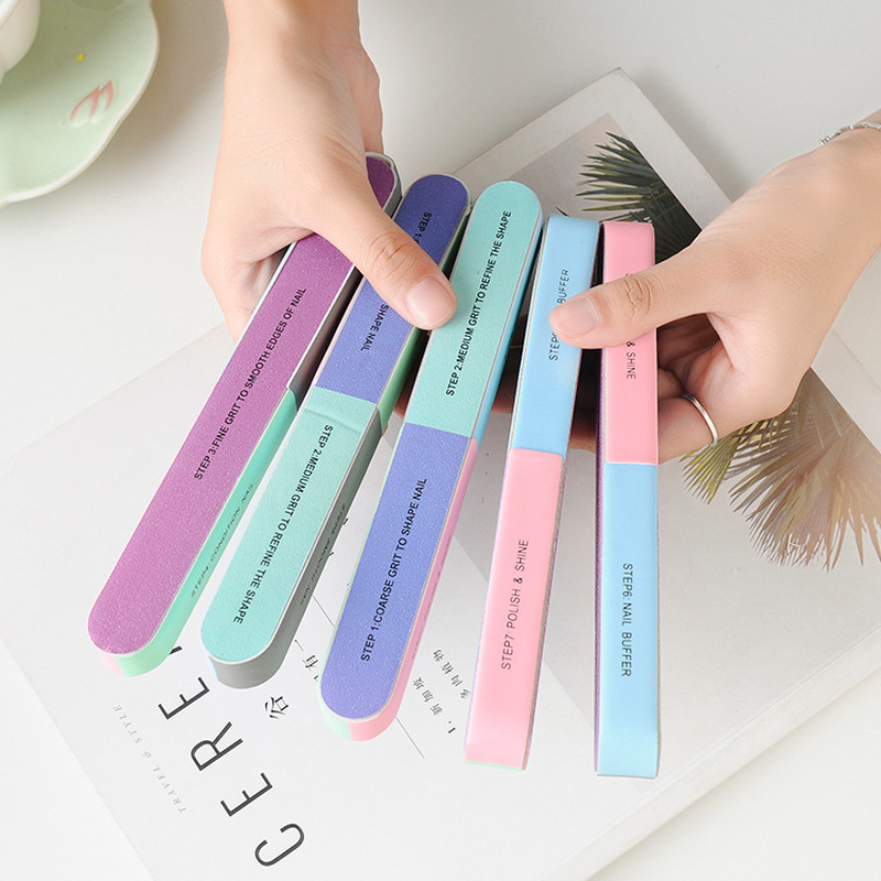 1Pcs Six-sided Polishing Nail File Tool Printing Nail File Sanding Professional Lasting Durable Nail Tools Unisex New