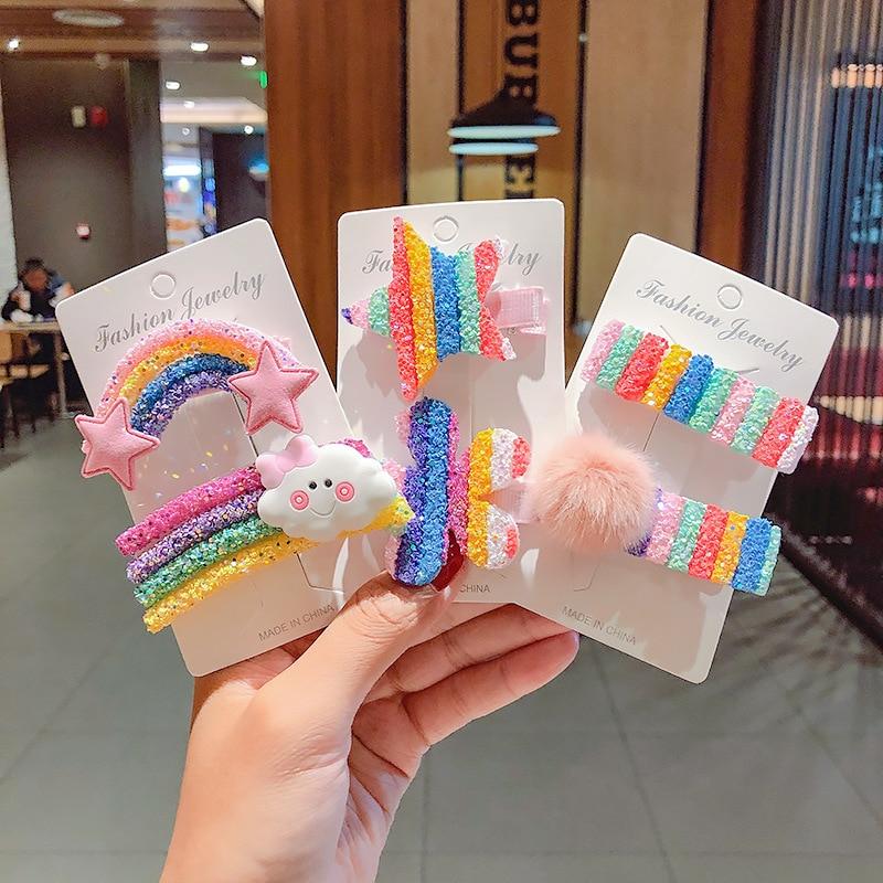 3-5Pcs/set Rainbow Glitter Hair Clips For Girls Handmade Fur Ball Hairpins Cute Striped Candy Barrettes Kids Hair Accessories