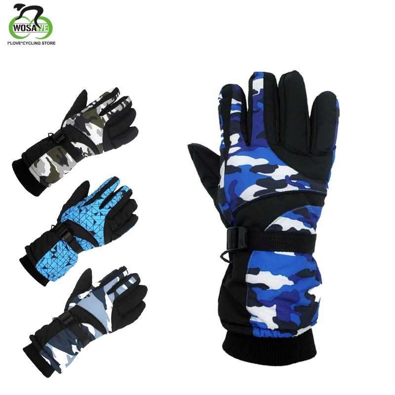 WOSAWE Winter Warm Snowboard Ski Gloves Waterproof Thicken Skiing Mittens Snowmobile Skating Snow PU Leather Fleece Thermal