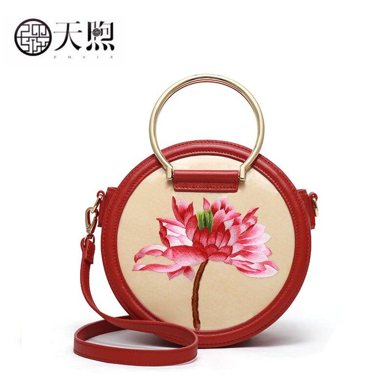 Pmsix mulheres saco de couro genuíno moda redonda saco bordado real bolsas bolsas de luxo sacos de designer famosa marca wome