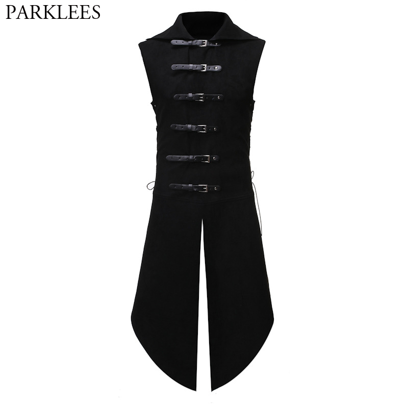 Men's Black Gothic Steampunk Velvet Vest Medieval Victorian Double Breasted Men Suit Vests Tail Coat Stage Cosplay Prom Costume