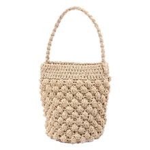 Female Rattan Bag Seaside Vacation Beach Bucket Portable Woven