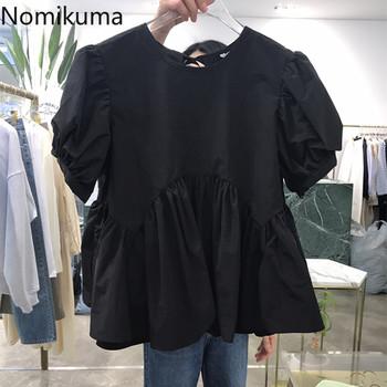 Nomikuma słodkie kobiety koszula dla lalki koreański muszka O-neck Top w stylu casual Blusas 2021 lato nowa z falbankami Blusas Mujer De Moda 6G272 tanie i dobre opinie CN (pochodzenie) POLIESTER Akrylowe spandex REGULAR Z okrągłym kołnierzykiem Łuk SHORT BLUZKI Rękaw z bufkami Zestaw jednoczęściowy