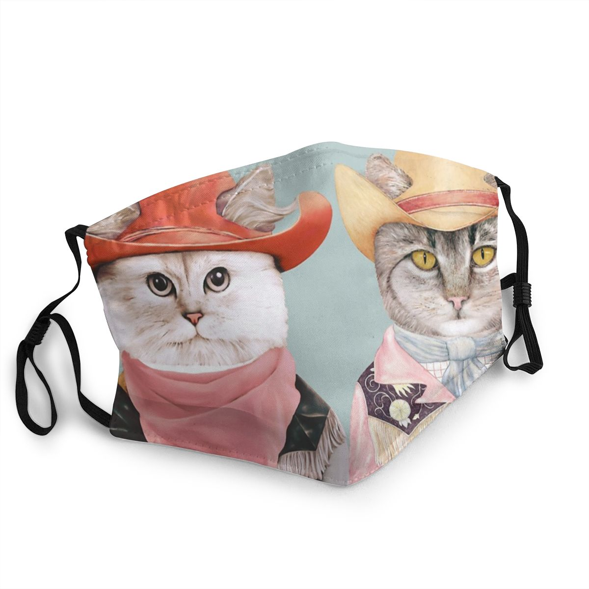 Cowboy Cats Non-Disposable Mouth Face Mask Printed Anti Haze Dustproof Mask Protection Cover Respirator Mouth Muffle