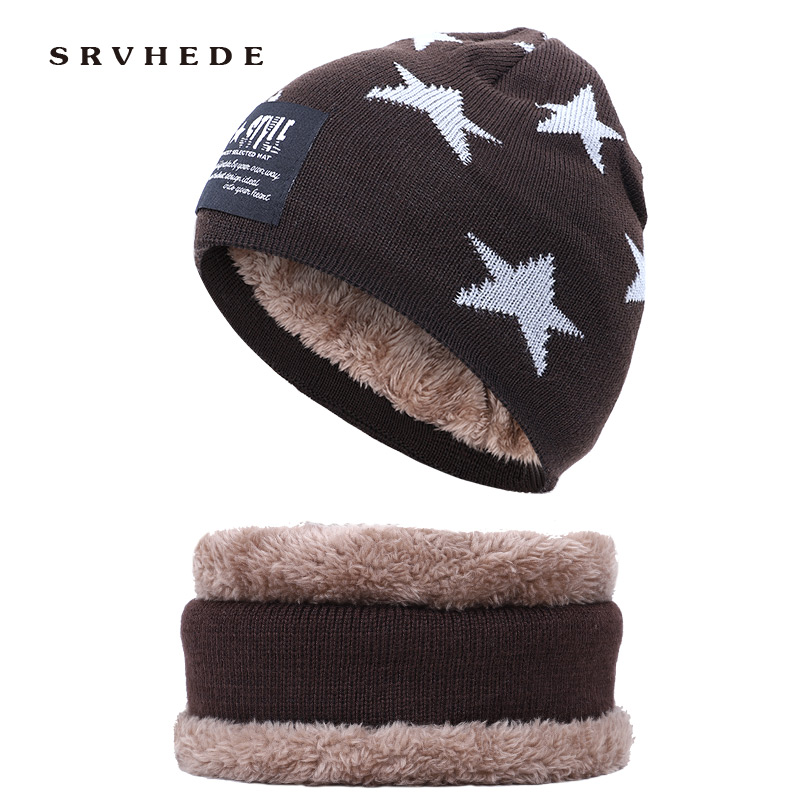 Two-piece Set Children Winter Warm Knitted Hat Cap With Scarves Thickened Wool For 3-12 Years Old Boys Windproof Outdoor Sports