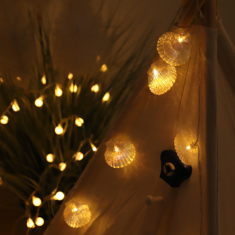 Waterproof 6M 40LED Sea Shell String Light Outdoor Christmas Fairy Garlands For Wedding Garden Party Holiday Decoration