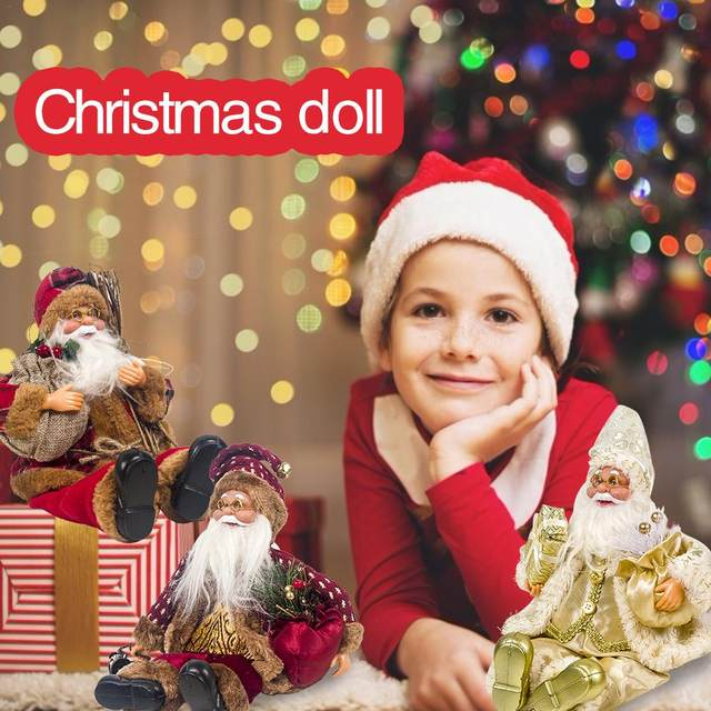 2019 Xmas New-Year Santa Claus Sitting Christmas Big Doll Fabric Kid Toys Gift Christmas Decorations For Home Table Ornament 15