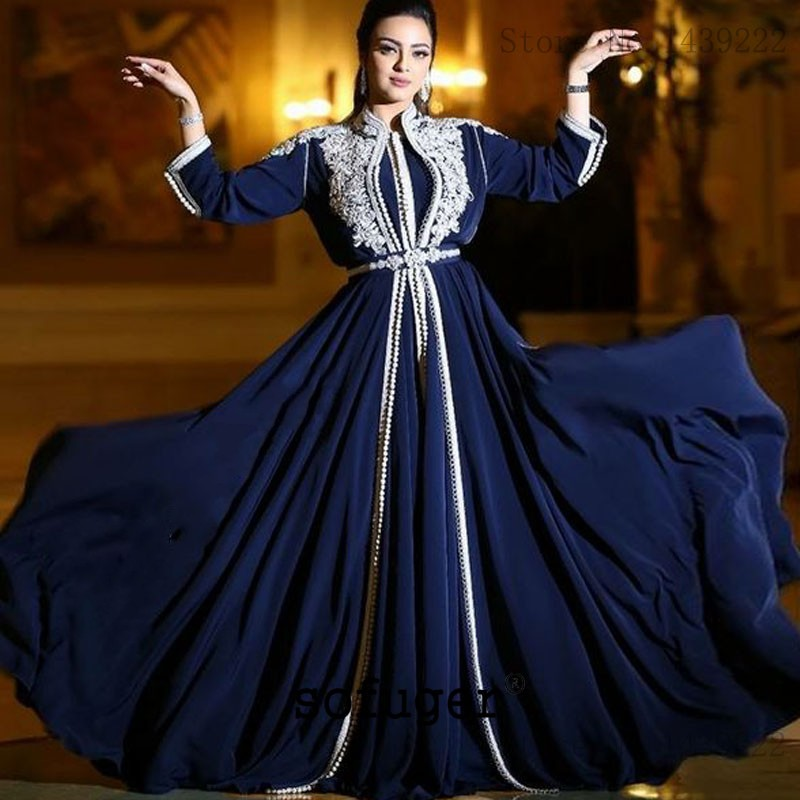 Navy Blue Evening Dresses Chiffon Lace Appliques Women Mother Dresses Moroccan Kaftan Muslim Special Occasion Formal Party