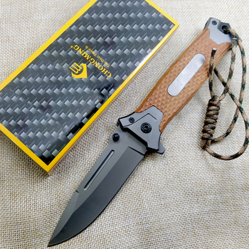 8.2'' Tactical Damascus steel Folding knife Pocket knife Camping survival Tactical knives colorful steel + solid wood handle EDC 5