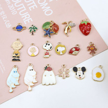 10pcs diy handmade jewelry accessories alloy pendant drop of shells and starfish star hippo omelette strawberry banana earrings